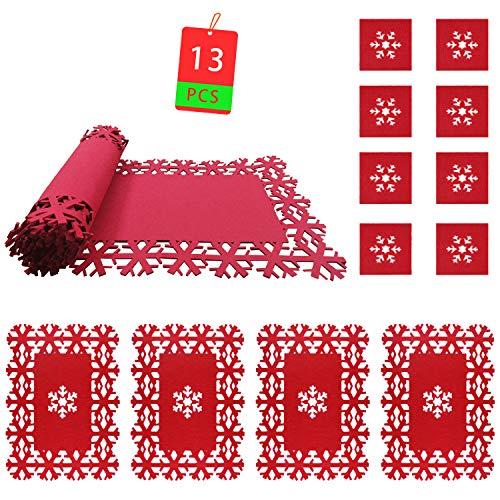Kungfu Mall - 4 tovagliette natalizie + 1 runner natalizio da tavola + 8 sottobicchieri natalizi, motivo con fiocchi di neve, decorazioni di Natale per la tavola
