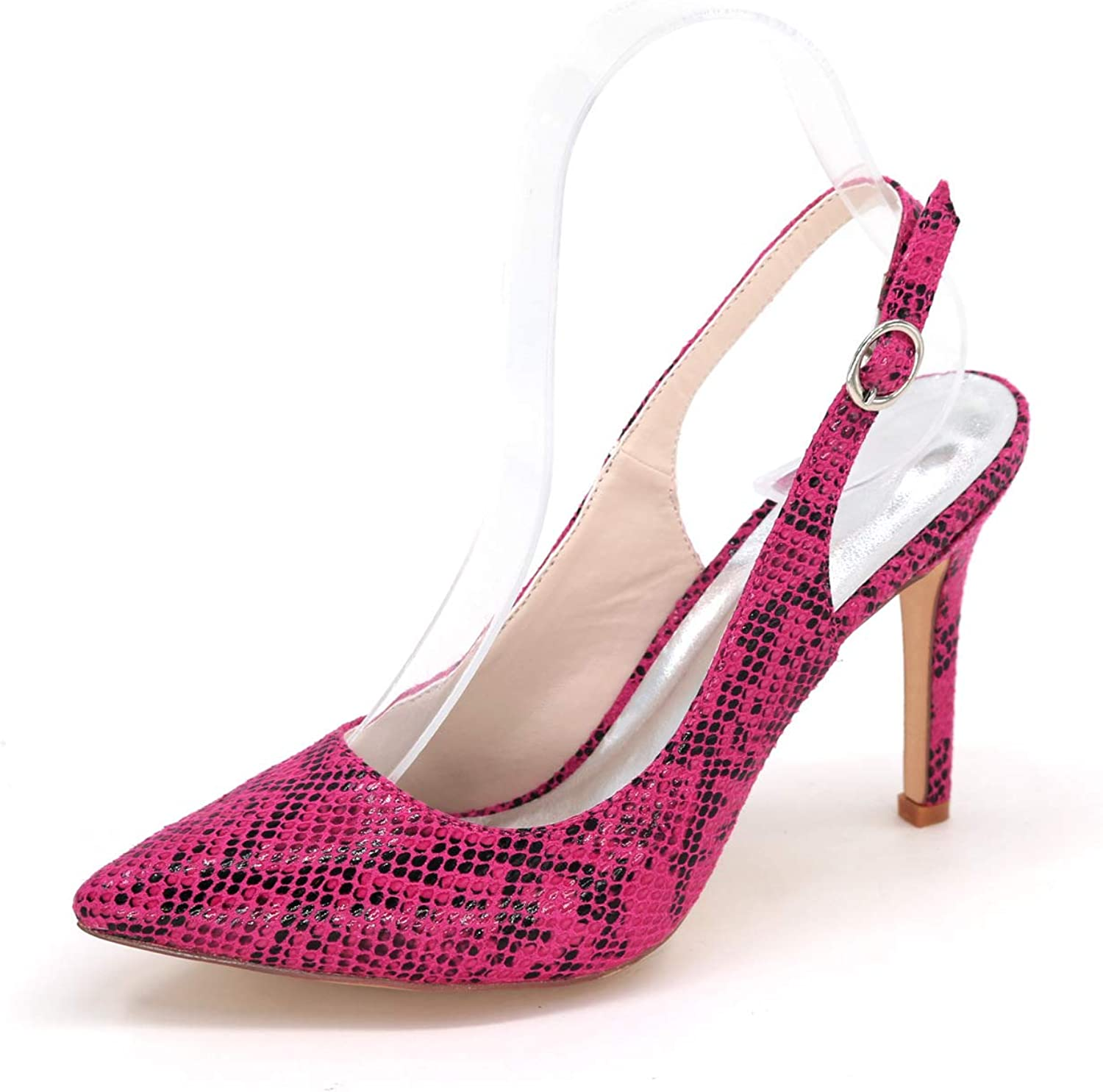 LLBubble Women High Heels Snakeskin Party Dress shoes Pointed Toe Ankle Buckle Stilettos Prom Evening Pumps 0608-20S