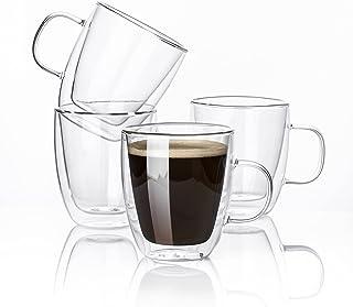 Kanwone Glass Coffee Mugs - 12.5 Ounce Double Wall Insulated Mug set with Handle, Clear Coffee Mugs, Perfect for Latte, Am...