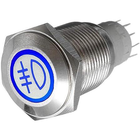 Mintice 16mm Kfz Kippschalter Wippschalter Druckschalter Schalter Drucktaster 12v Blau Led Licht Metall Nebelschlussleuchte Auto