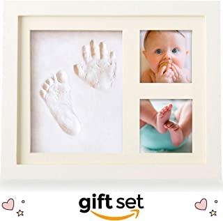 Baby Picture Frame, Baby Footprint Kit, Gift Set for your Registry for Baby Shower, Hassle-Free Photo Cropping with Our Unique App, IMPROVED Clay for Boy or Girl Handprint Keepsake Frame, NO CRACKS