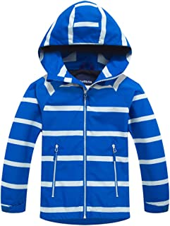 TLAENSON Boys Girls Windbreaker Fleece Lined Light Waterproof Jacket with Hood