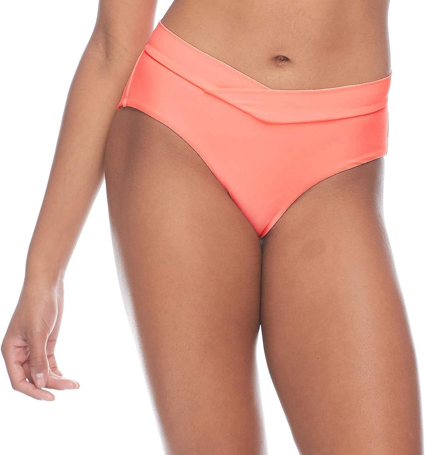 Body Glove Women's Standard Smoothies Nuevo Retro Solid High Rise Bikini Bottom Swimsuit