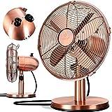 KESSER® - Tischventilator Design Retro Voll-Metallgehäuse 80° Oszillation - leise Ventilator mit 3 Geschwindigkeitsstufen - Zuschaltbare | Windmaschine | Neigungswinkel ca. 40° Metall, Kupfer