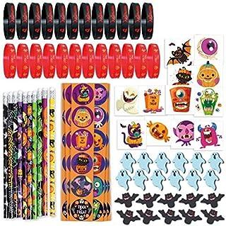 274PCS Halloween Toys Party Favor Bulk, 10 Pencils, 24 Erasers, 24 Bracelets, 144 Stickers, 72 Temporary Tattoos
