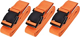 uxcell Luggage Straps Suitcase Belts with Buckle, 4Mx5cm Cross Adjustable PP Travel Packing Accessories, Orange 3Pcs