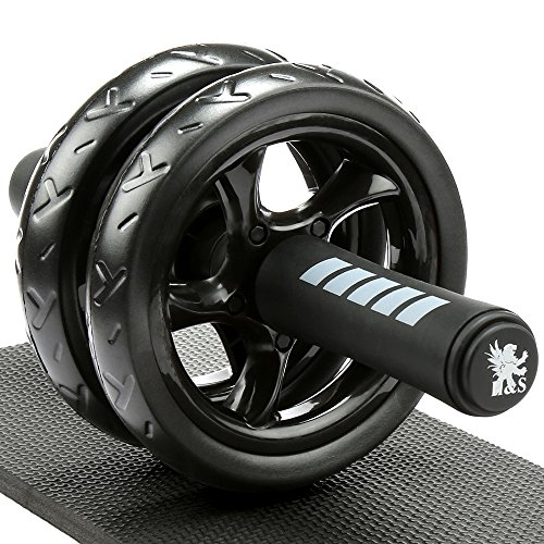 H&S Ab Abdominal Exercise Roller With Extra Thick Knee Pad Mat - Body Fitness Strength...