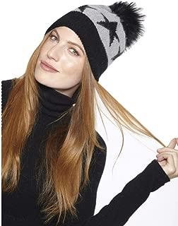 New Two- Toned Star/Grey Black with Genuine Fur Pom Pom HA19