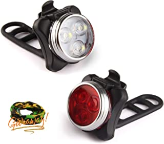 Tropiz Bike Light Set - USB Rechargeable LED Bike Front & Tail Light Set, Water Resistant IPX4, Long Lasting 650 mAh Lithium Battery,4 Modes (High & Low Beam,Fast & Slow Flashing), Easy Installation