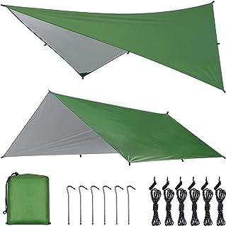 OTraki Camping Tarp 4 m x 3 m Hangmat Regen Fly Tent Tarp Waterdicht Winddicht Sneeuwdicht Camping Dekzeil Shelter Tent Lu...