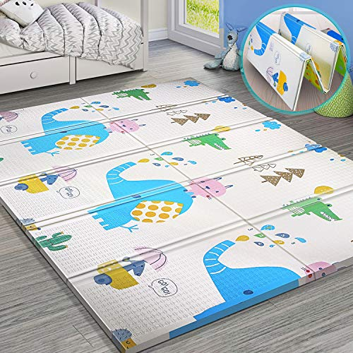 Gimars XL BPA Free 0.6 in Reversible Foldable Baby Play Mat, Waterproof Thick Foam Floor Baby Crawling Mat, Portable Baby Playmat for Infants, Toddler, Kids, Indoor Outdoor Use (79 x71x0.6inch)