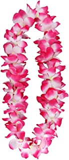 Yansanido 41'' Pack of 6 Large Size Fully Graduation Party Hawaiian Ruffled Simulated Silk Flower Leis Necklace for Party Favor and hula-hula Hawaiian Dance (6pcs Pink)