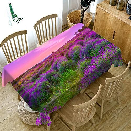Aututer 3D Blumen Blumenmuster Tischdecke staubdicht waschbar verdickte Baumwolle rechteckige und runde Tischdecken aus Haus und Garten