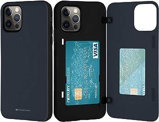 Goospery IP12P-MDB-NVY - Funda tipo cartera para iPhone 12 Pro con tarjetero, doble capa protectora para teléfono móvil (a...