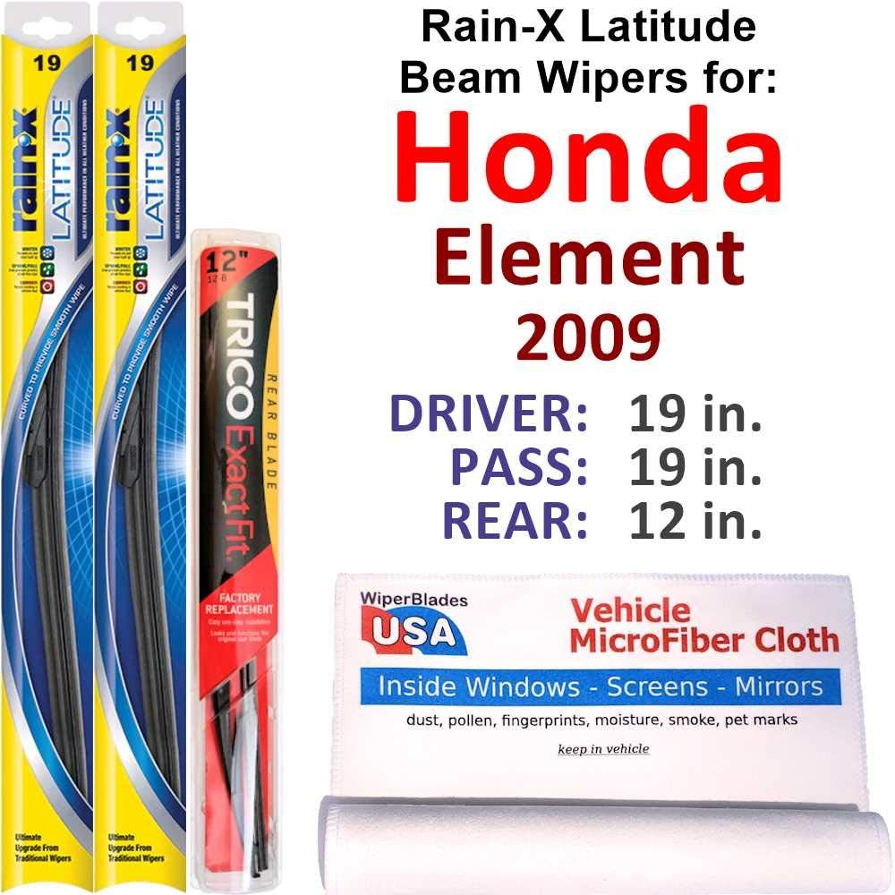 Rain-X Latitude Beam Wipers for 2009 Set Ra Rear New New color Orleans Mall Element Honda w