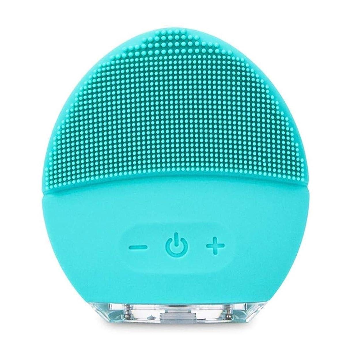 リンケージレジ輝くフェイシャルクリーニングブラシ、充電式防水アンチエイジングスキンクリーナー、フェイシャルマッサージ、電気シリコーンディープエクスフォリエーションメイクアップツール、あらゆる肌タイプに対応 (Color : Blue)