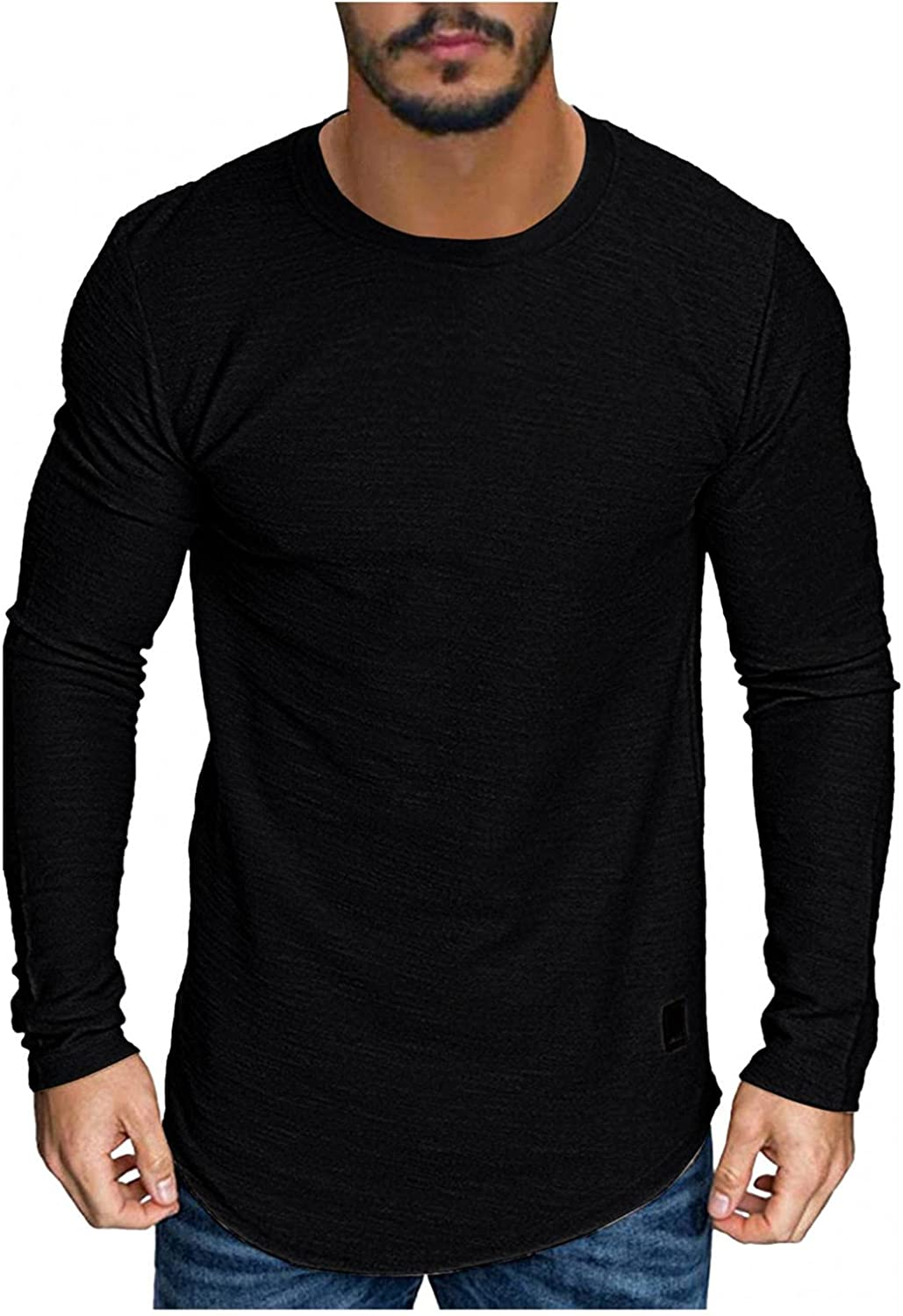 Long Sleeve Tee Shirts for Men Dry Fit Work Tops Casual Basic Solid Color to wear with Jacket Blouse