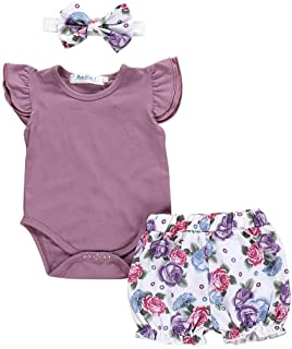 Rumity Strampler für Neugeborene, Mädchen, kurzärmelig, Body  Rüschen  Stirnband, 3-teiliges Set Baby Kleidung Mädchen 0-6 Monate