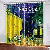 Niño Patrón 2 Paneles Cortinas Opacos Impresas Van Gogh im