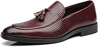 HUAHs0 Tassels Oxford for Men Embossed Wedding Shoes Slip on PU Leather Low Heel Wear Resistant Pointed Toe Rubber Sole Burnished Style` (Color : Yellow, Size : 38 EU)