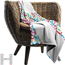 Mannwarehouse Letter H Super Soft Blankets Communication Tool Writing Language Element H Designed in Musical Notes Print Anti-Static Throw Multicolor
