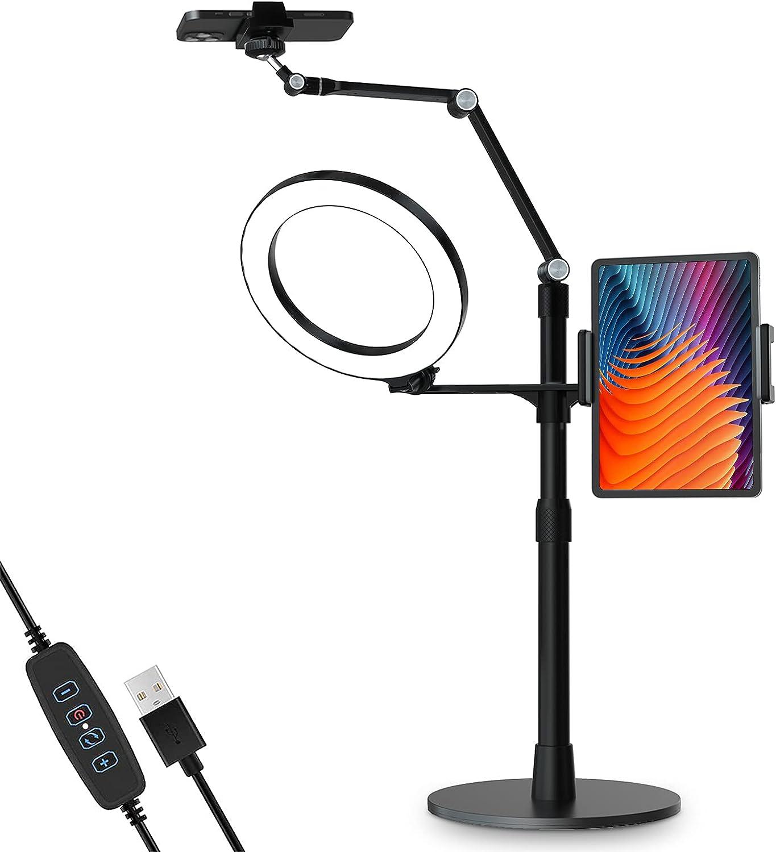 viozon 3-in-1 Selfie Desktop Live Stand, Height Adjustable/Overhead, 8