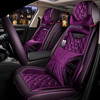 Four Seasons Leather Short Plush Seat Cover, Warm And Comfortable Winter Season Seat Cover for Most Five-Seater Cars, with Headrest Lumbar Pillow,Purple