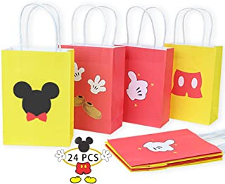 CrzPai Mickey Mouse Gift Bags for Kids Birthday 24 Pcs Mickey Party Favor Bags Treat Candy Goodie Bags for Mickey Mouse Th...
