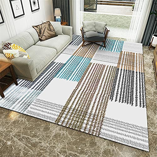 Alfombras Alfombra Salon Moderna Azul Marrón Gris Diseño de Rayas Simples Sala de Estar Alfombra Grande Antideslizante Sofas de Salon alfombras 80*160cm