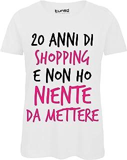 9e5a1091d3bcc9 T-Shirt 100% Cotone Donna Maglietta Divertente con Stampa Frasi 20 Anni