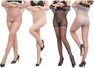 Yulaixuan pantimedias para mujer 4 pares control superior medias 15 Denier medias largas leggings reforzados