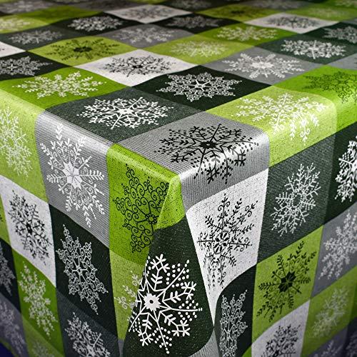 KEVKUS Wachstuch Tischdecke Meterware 01355-04 Weihnachten Schneeflocken kariert grün grau Silber wählbar in eckig rund oval (Rand: Schnittkante (ohne Einfassung), 140 x 160 cm eckig)