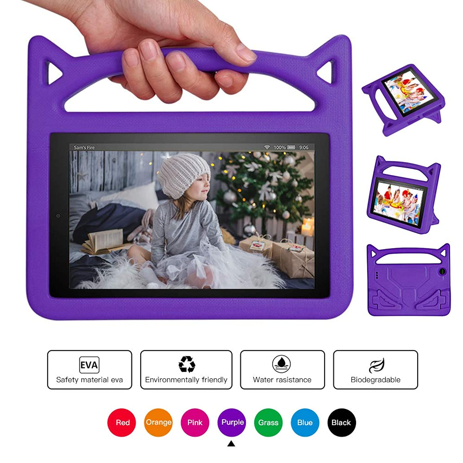Forever - Love All New F'i r e 7 Tablet Leather Case, [Corner Protection] Anti Slip Shockproof Light Weight Kids Friendly Protective Case(7th/5th Generation,2017/2015 Released) Purple