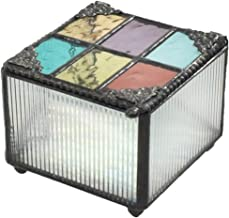 J Devlin Box 815 Stained Glass Trinket Box Colorful Blue Purple Green Amber Keepsake Gift Decorative Jewelry Box