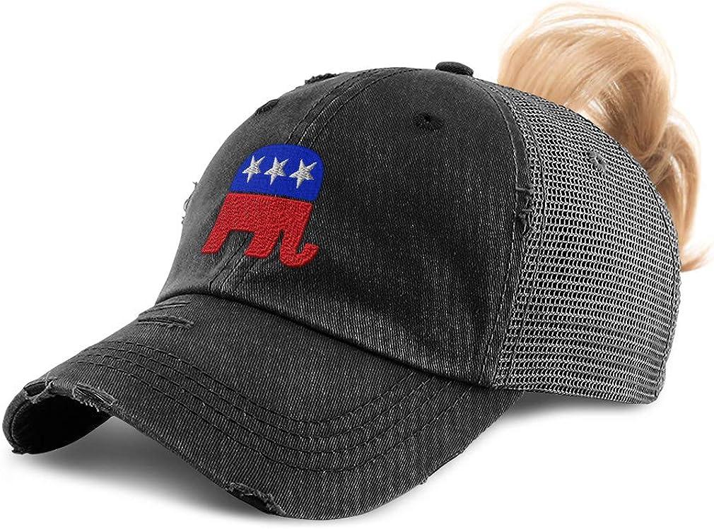 Custom Womens Ponytail Cap Republican Elephant A Embroidery Cotton Strap Closure