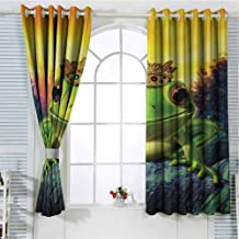 Grommet Window Curtain Curtains for Bedroom Animal,Frog Prince with His Golden Crown on The Rocks Fairytale Soul Mates Illustration,Green Yellow Curtain Panels 108 x 72 inch