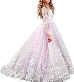 a95c13be462 Fille Appliques Robe de Princesse Longue en Dentelle Robe de Première  Communion Baptême Demoiselle d