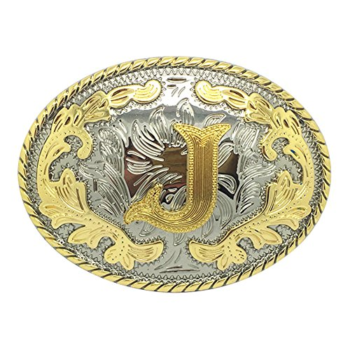 Western Belt Buckle Initial Letters ABCDEFG to Y-Cowboy Rodeo Gold Large Belt Buckle