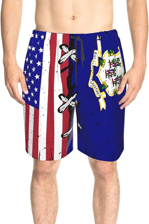 JINJUELS Men's Swim Shorts Connecticut American Flag Swim Boardshorts Quick Dry Comfy Swimwear Bathing Suits with Pockets