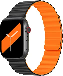 Goton Silicone Magnetic Band for Apple Watch Bands 38mm 40mm 41mm 42mm 44mm 45mm Women Men, Adjustable Sport Wristbands Strap Accessories Compatible with iWatch SE & Series 7 6 5 4 3 2 1 Black-orange