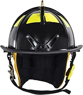 MSA 1044DSB Cairns 1044 Traditional Composite Fire Helmet with Defender, Black, Nomex Earlap, Nomex Chinstrap with Quick Release & Postman Slide, Lime/Yellow Reflexite, 6