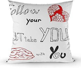 Ducan Lincoln Pillow Case 2PC 18X18,Funda De Almohada,Fundas De Funda De Almohada Cuadrada,Frase SIGA Su Corazón Pero Lleve El Cerebro con Usted Cojín De Ambos Lados