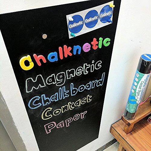 "Magnetic Chalkboard Contact Paper, Self Adhesive Magnetic Wall Board Sticker, Magnetic Wallpaper for Kids Toddlers Playroom, Pizarra Magnetica para Niños, 39"" x 18"""