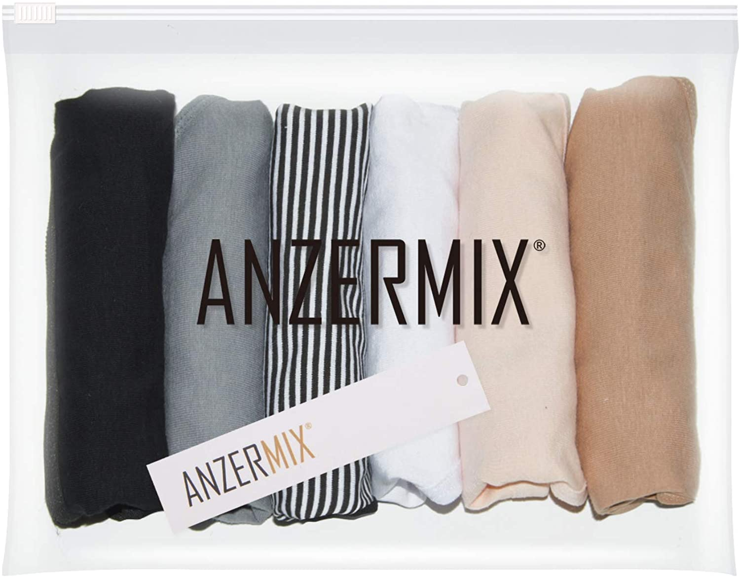 ANZERMIX Womens Breathable Cotton Thong Panties Pack of 6