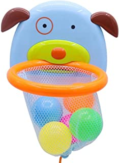 NUOLUX Bathtub Bath Toy Shoot Splash Basketball Hoop with 5 Balls Sets Puppy Shaped Design for Kids