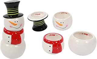 DEI Christmas Morning 4 Piece Ceramic Snowman Measuring Cup Set