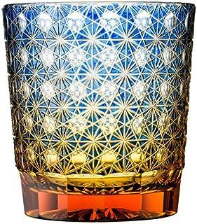 オールドグラス 縁繋ぎクリスタルガラス琥珀纏/瑠璃