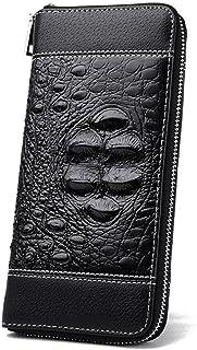 BeniCrocodile handbag new men's long business handbag zipper wallet-Crocodile black