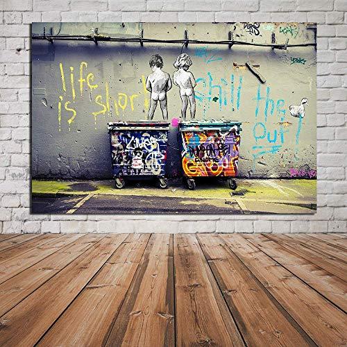 Lienzo Imprimir Pintura Graffiti Callejero Arte Pintura Banksy Hogar Salón Dormitorio Pared Decoración Creativo Chorro De Tinta Cuadro,Noframe,70x90cm
