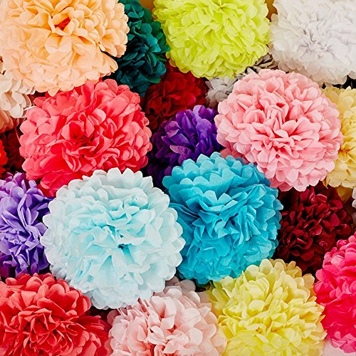 Paper Pom Poms for Party Decorations - 10, 12, 14 inch Paper Flowers Perfect for Wedding Decor - Birthday Celebration - Table and Wall Decoration (8 Color)